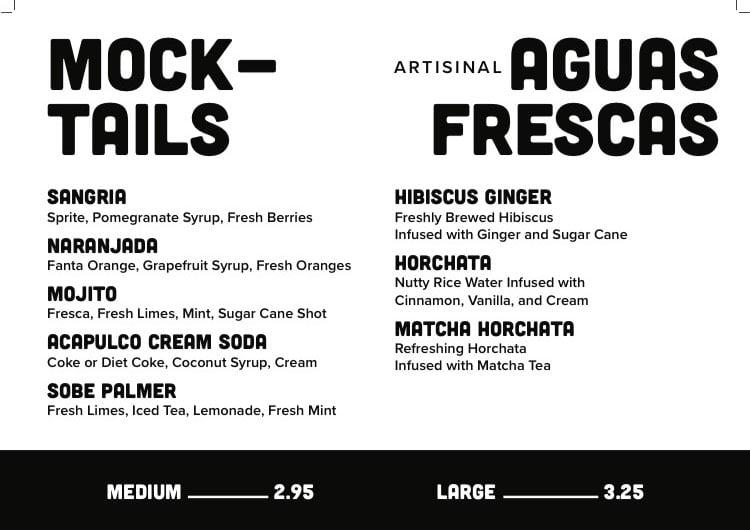 Sobe Eats menu - mocktails, aguas frescas