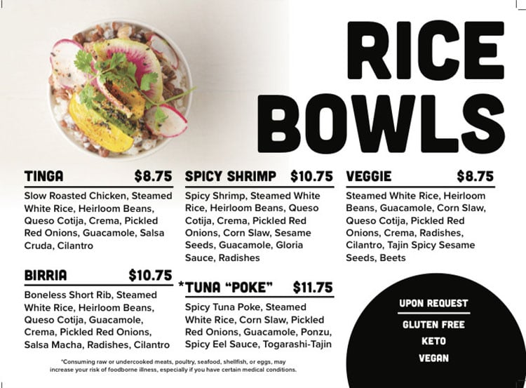 Sobe Eats menu - rice bowls