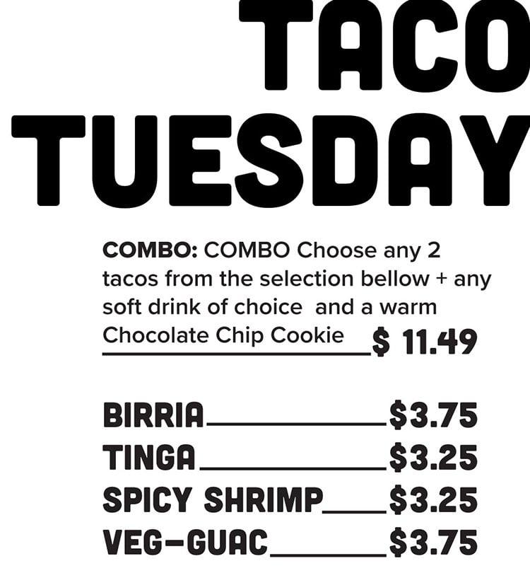 Sobe Eats menu - tacos
