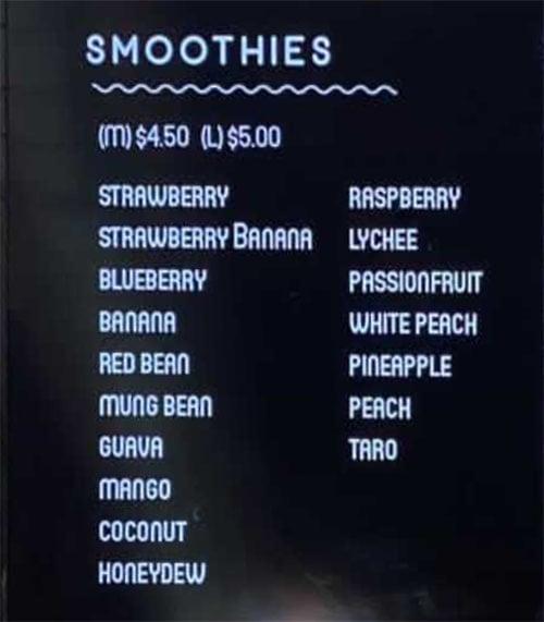Space Tea menu - smoothies