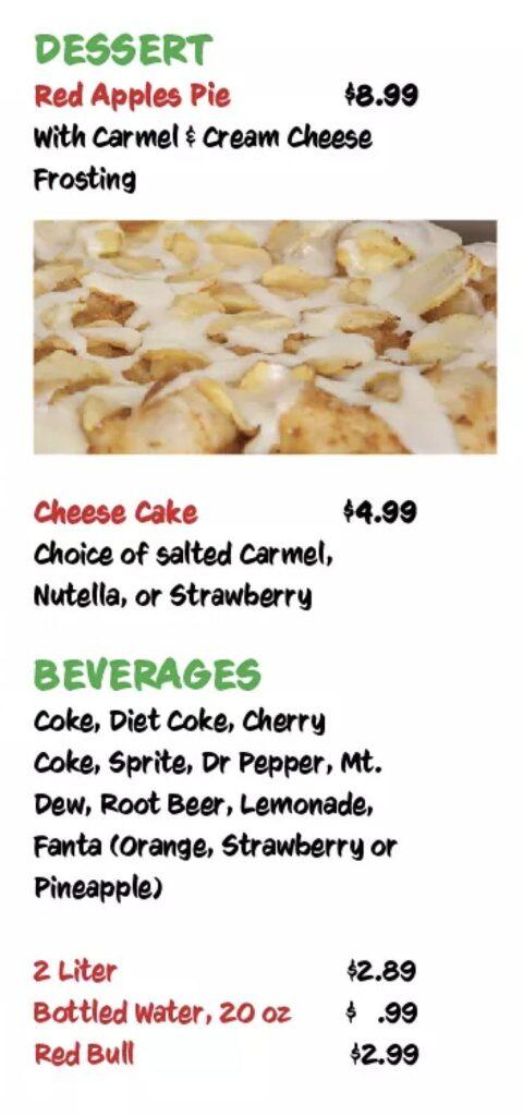 Victor's Pizza menu - dessert, beverages