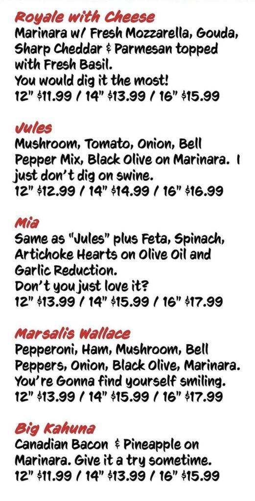 Victor's Pizza menu - specialty pies