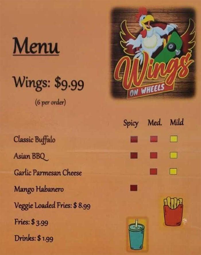 Wings On Wheels menu