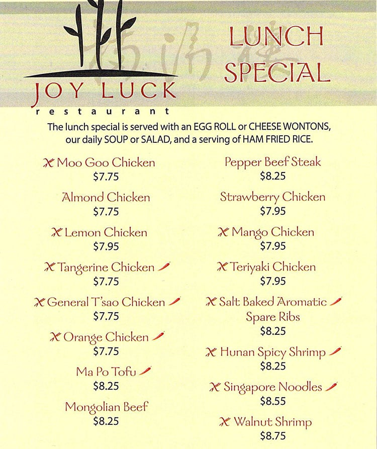 Joy Luck dinner menu - lunch specials