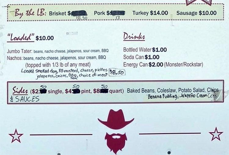 Red Beard BBQ menu - page two