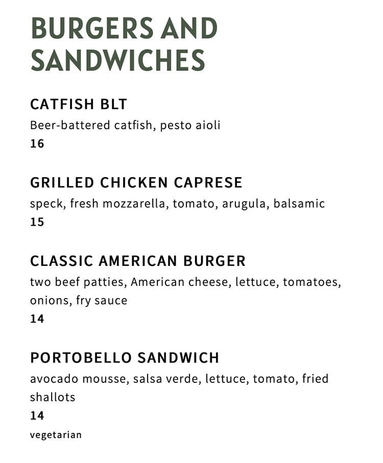 The Ivy menu - burgers, sandwiches