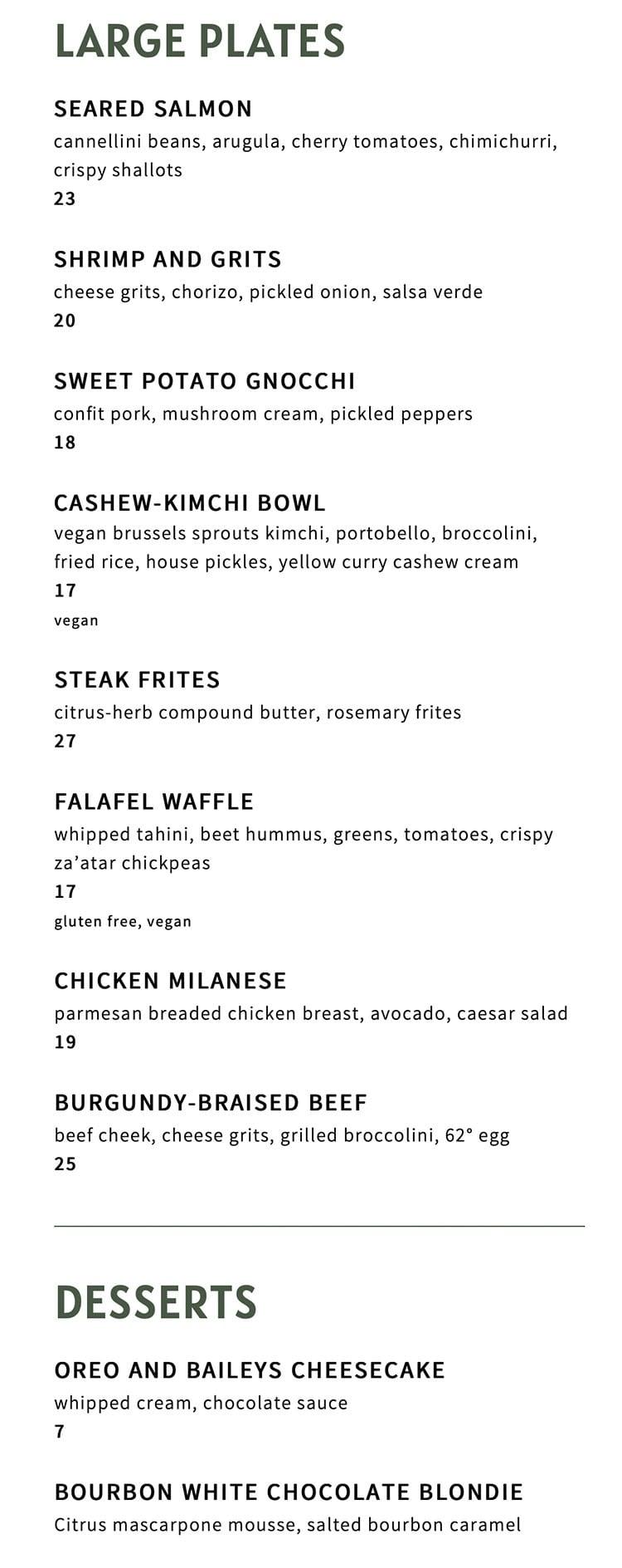 The Ivy menu - large plates, desserts