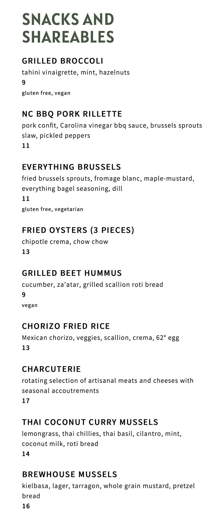 The Ivy menu - snacks, shareables