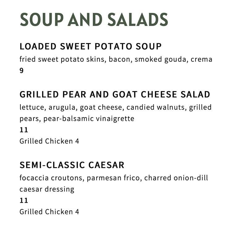 The Ivy menu - soup, salad