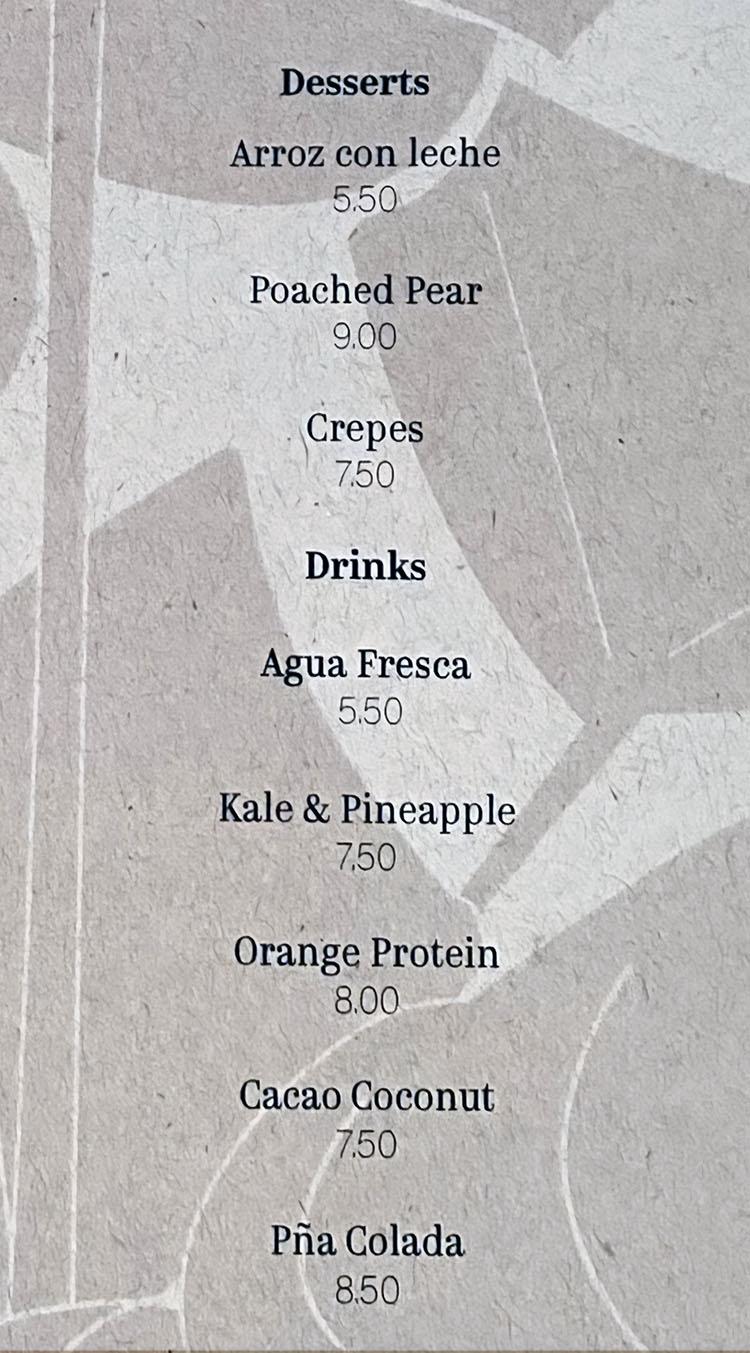 Lola menu - desserts
