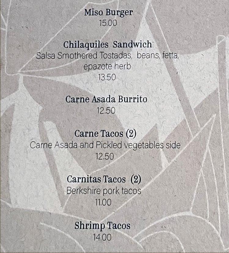 Lola menu - sandwiches, tacos, burritos
