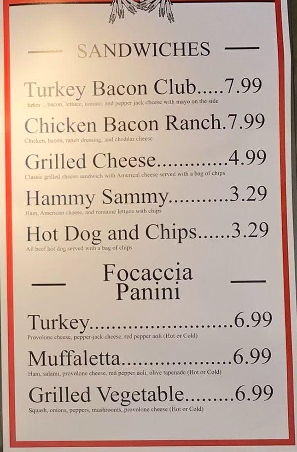 Rise at Gardner Village menu - sandwiches, panini