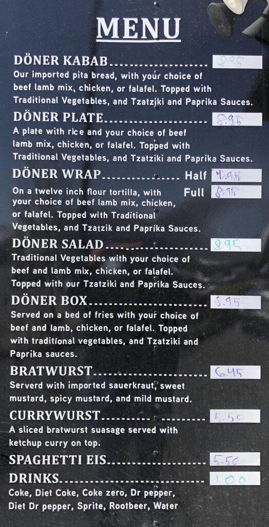 Rimmels Food Truck menu