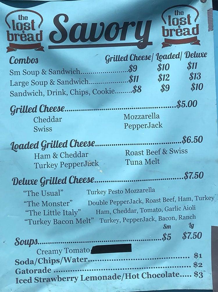 The Lost Bread food truck menu - savory