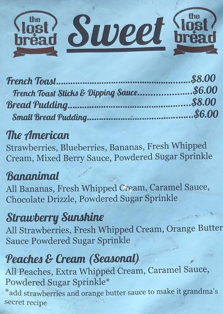 The Lost Bread food truck menu - sweet