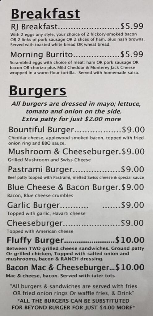 RJ Grill menu - breakfast, burgers