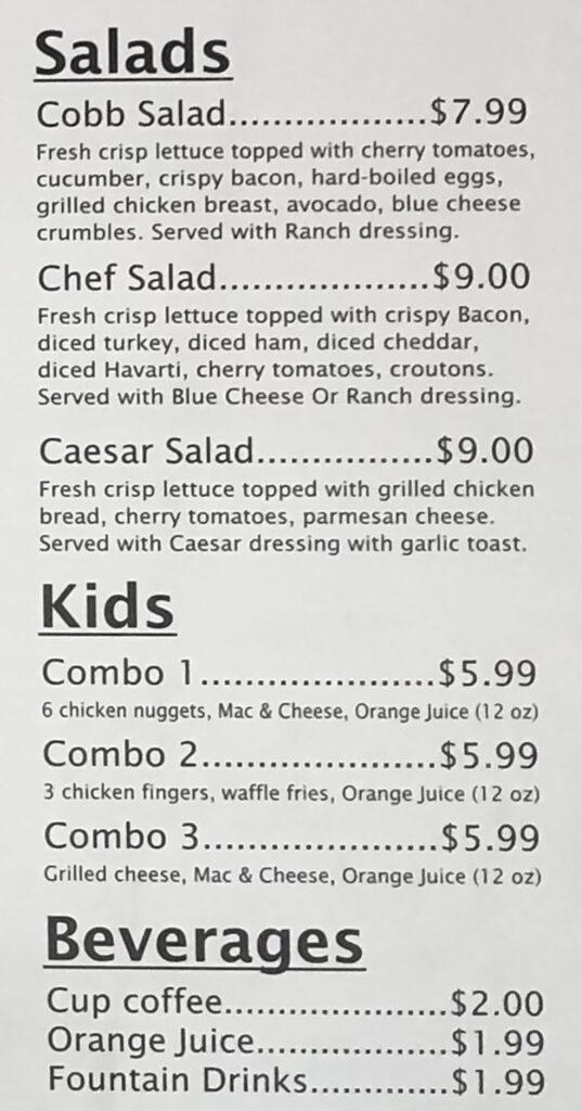 RJ Grill menu - salads, kids, beverages