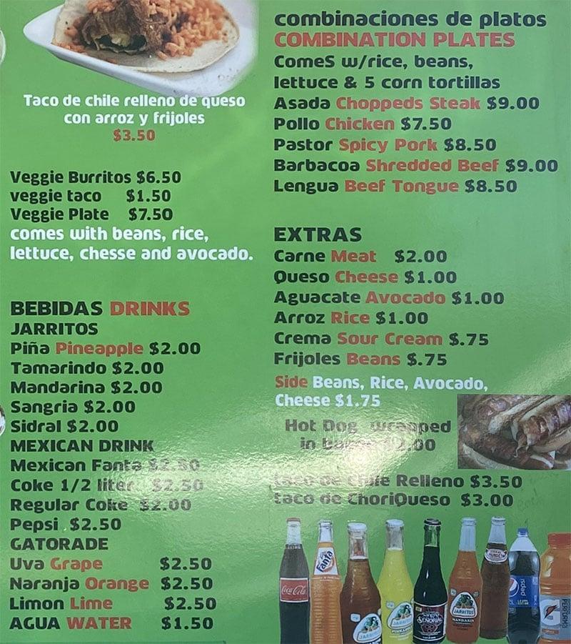 La Rancherita food truck menu - combos, drinks, extras