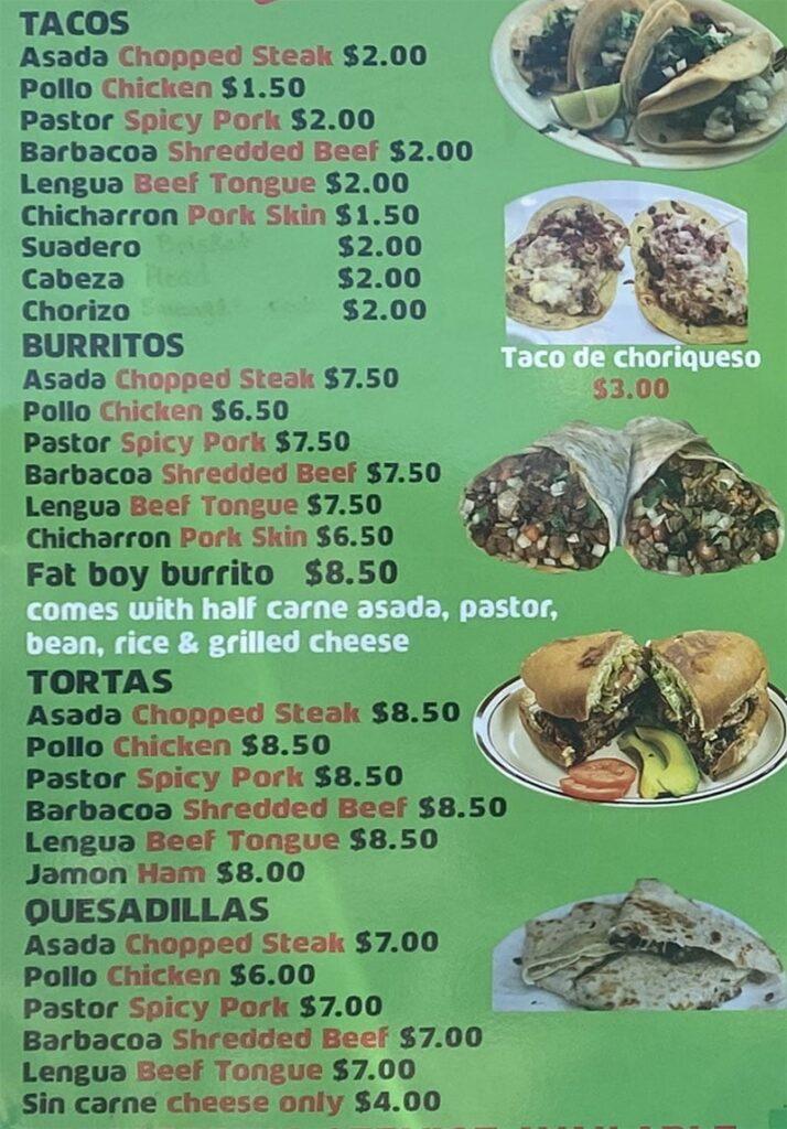 La Rancherita food truck menu - tacos, torta