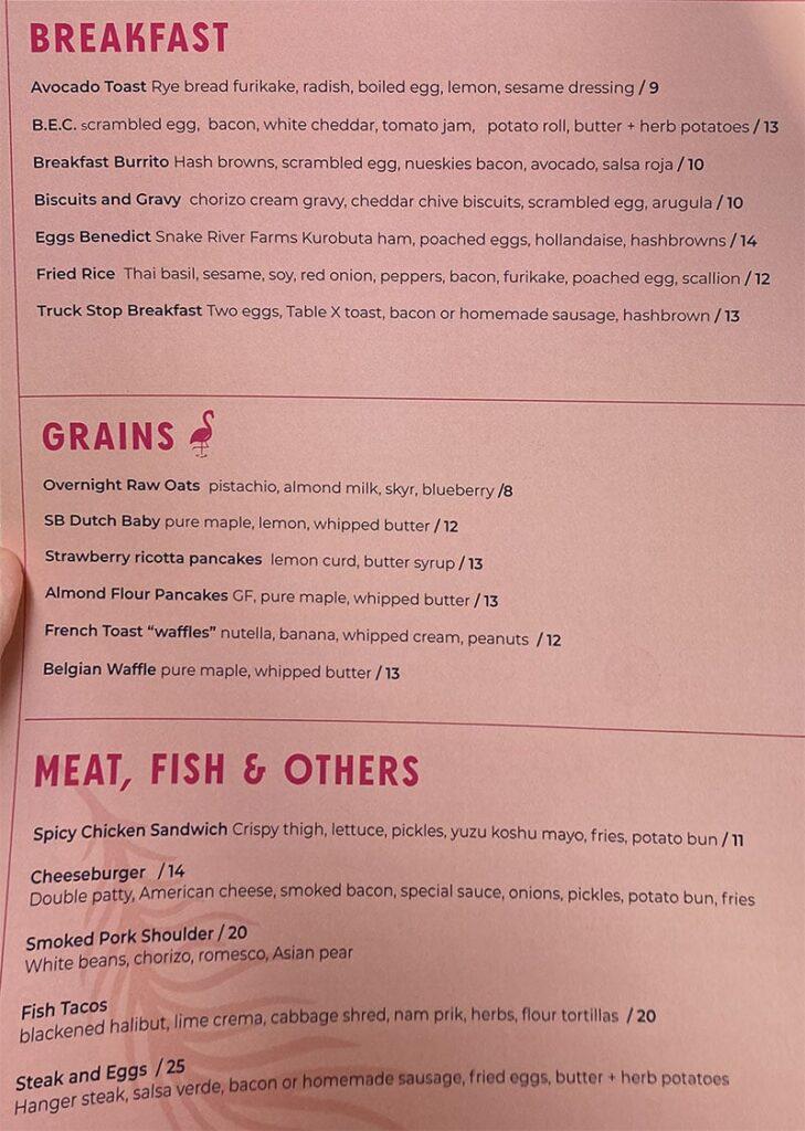 Sunday's Best menu - breakfast, grains, meat, fish