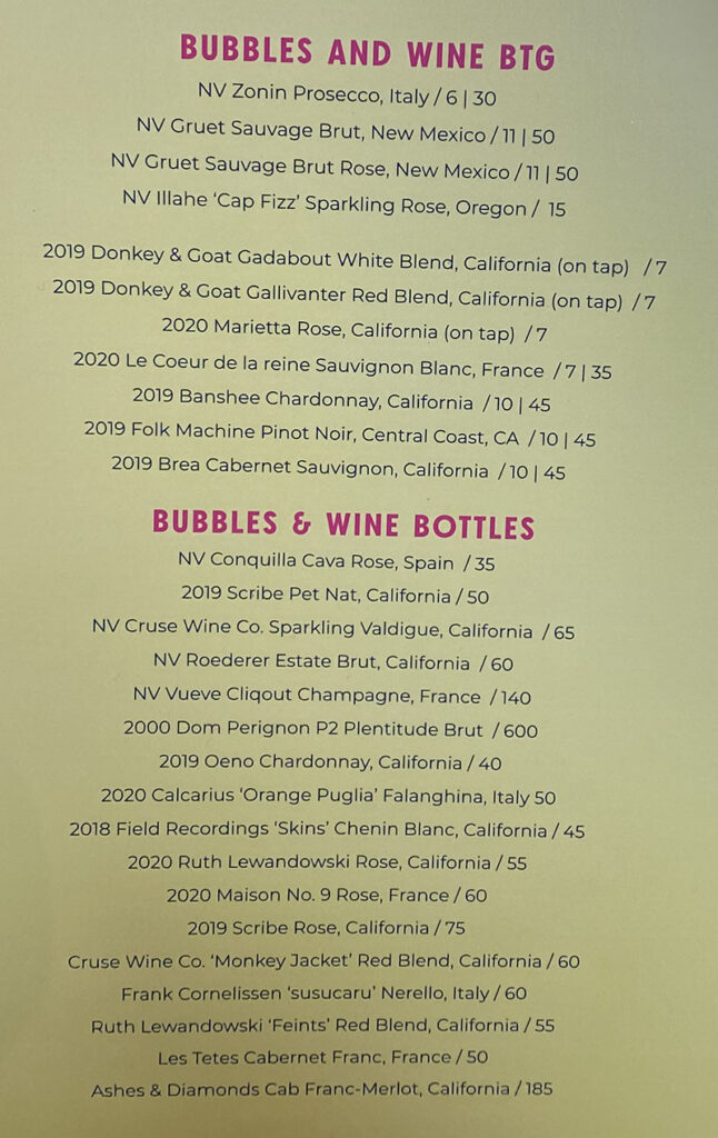 Sunday's Best menu - bubbles