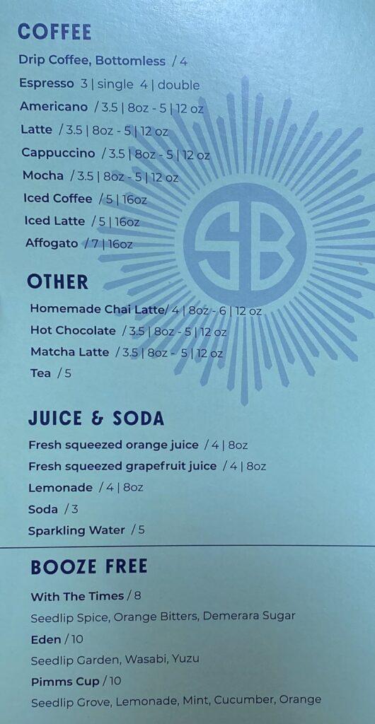 Sunday's Best menu - other beverages