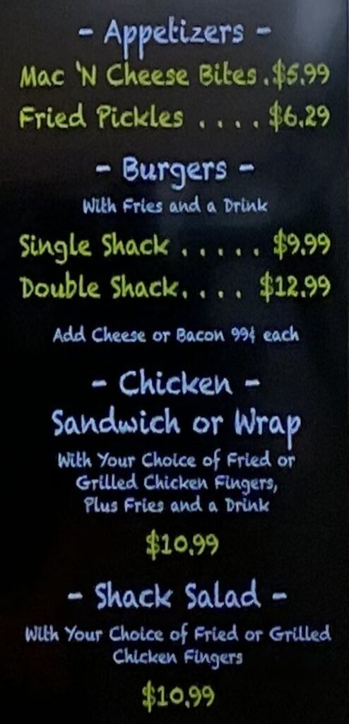 Chicken Shack menu - appetizers, burgers, wraps, salad