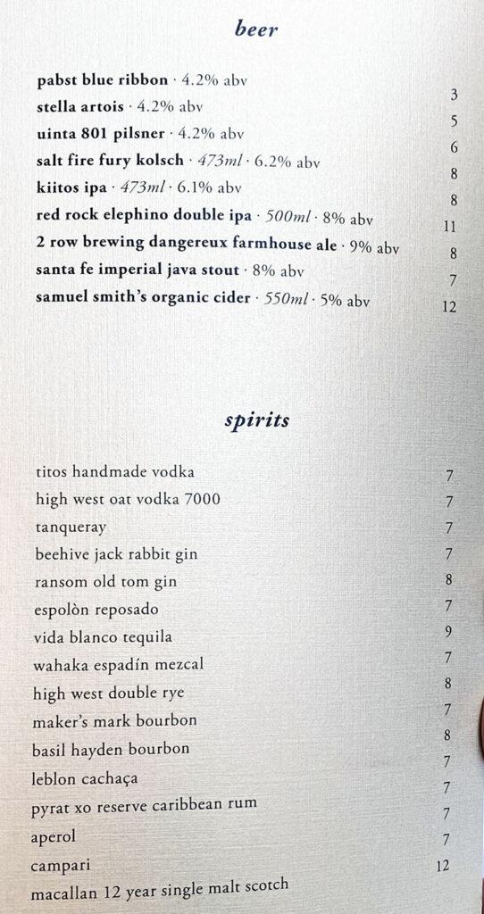 Eva menu - beer, spirits