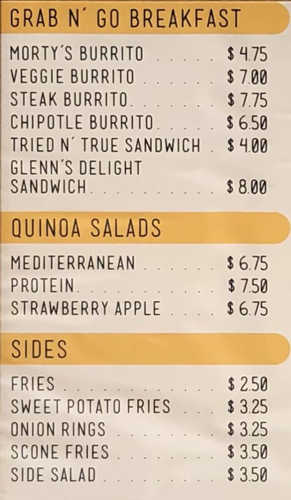 Morty's Cafe menu - breakfast, salads, sides