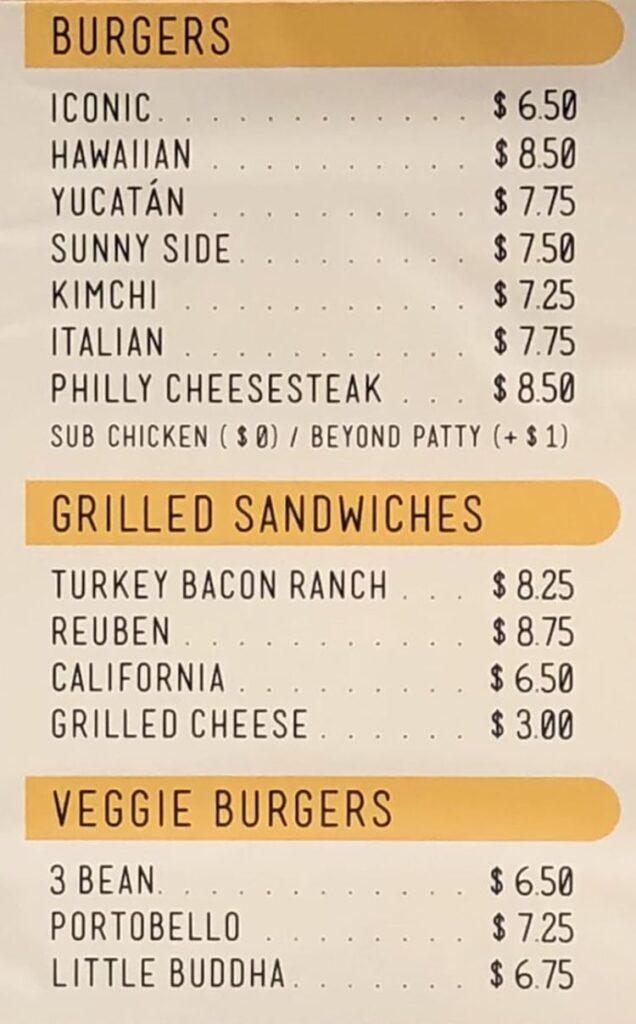 Morty's Cafe menu - burgers, sandwiches
