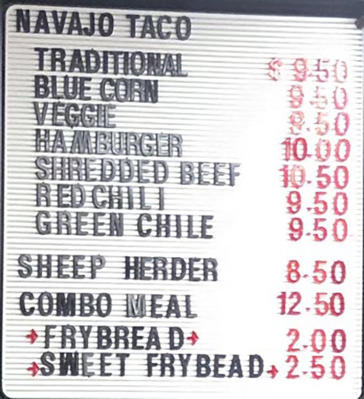 Navajo Hogan menu - navajo tacos