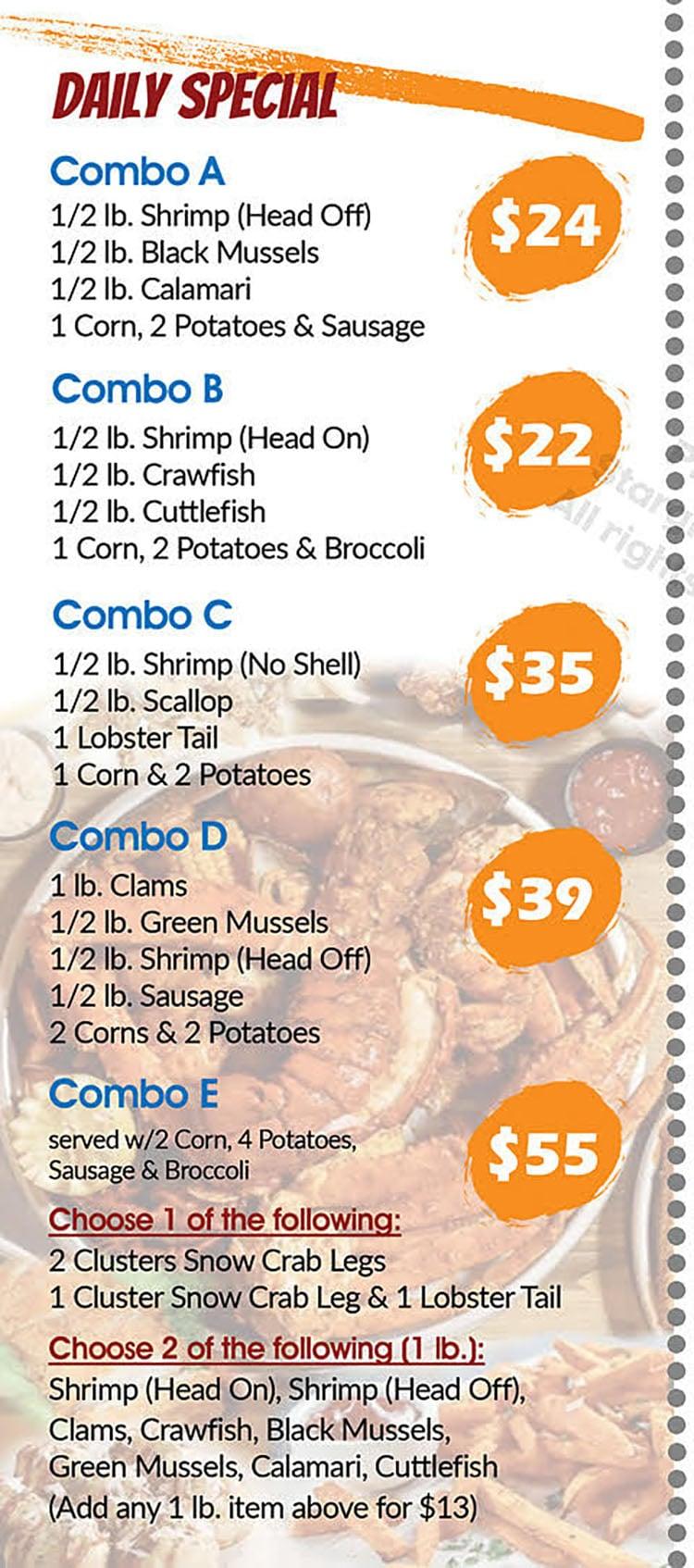 Cajun Boil Seafood Restaurant menu - daily specials