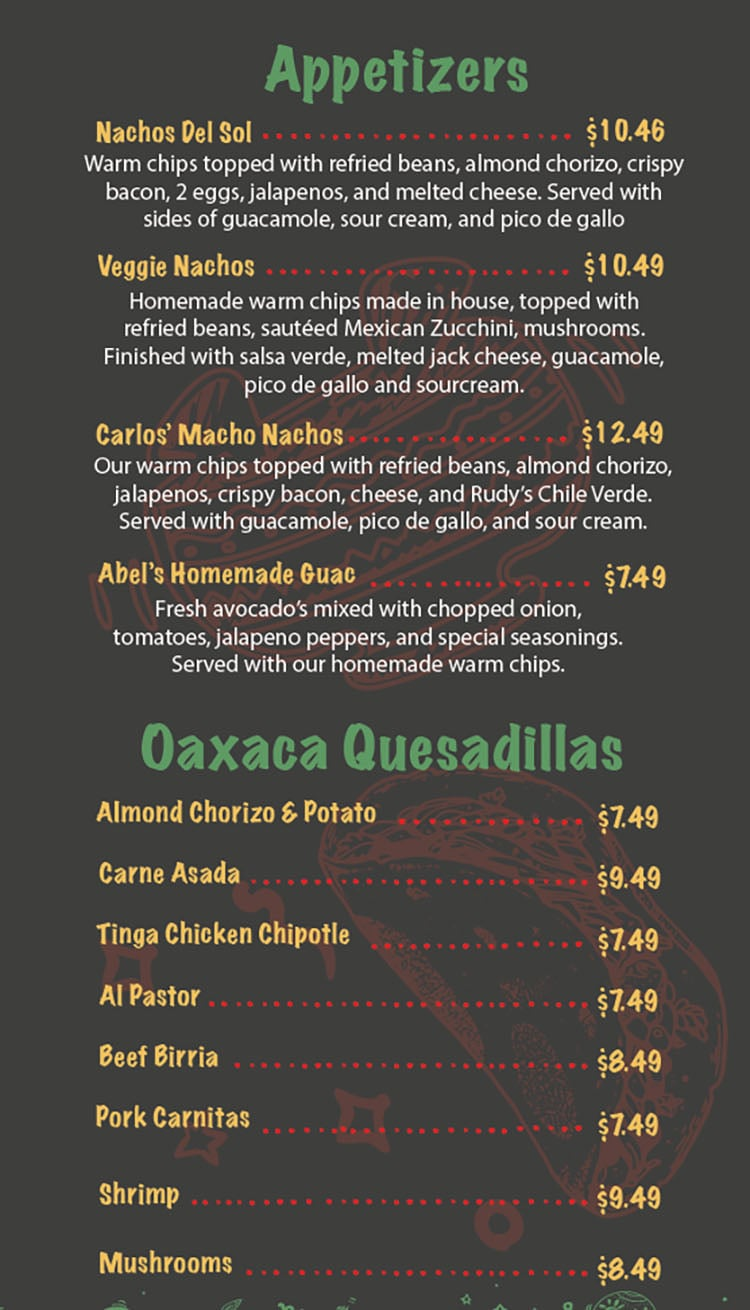 Del Barrio Cafe menu - appetizers, Oaxaca quesafillas