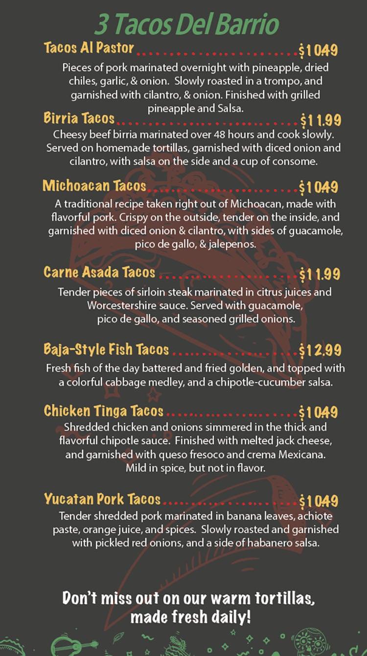 Del Barrio Cafe menu - three tacos del barrio