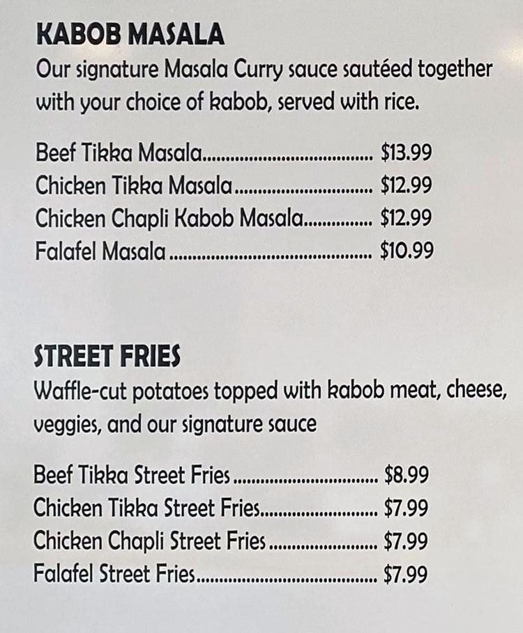 Kabob Bros menu - kabob masala, street fries