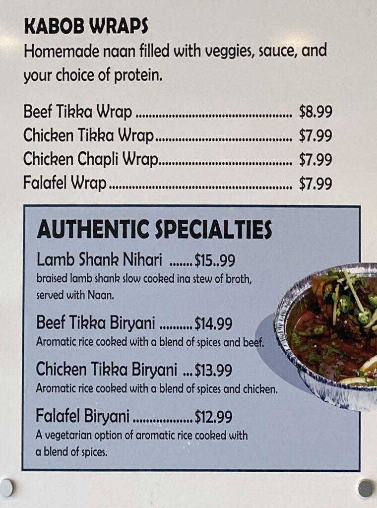 Kabob Bros menu - kabob wraps, authentic specialties