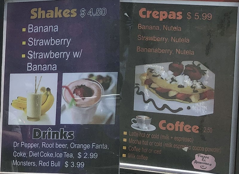 Love N.T. menu - shakes, crepes