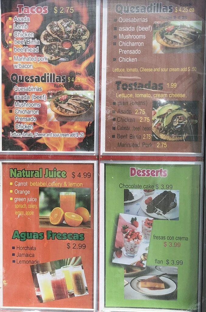 Love N.T. menu - tacos, quesadillas, drinks, dessert