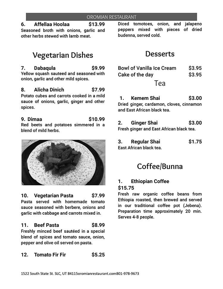 Oromian Restaurant menu - page five