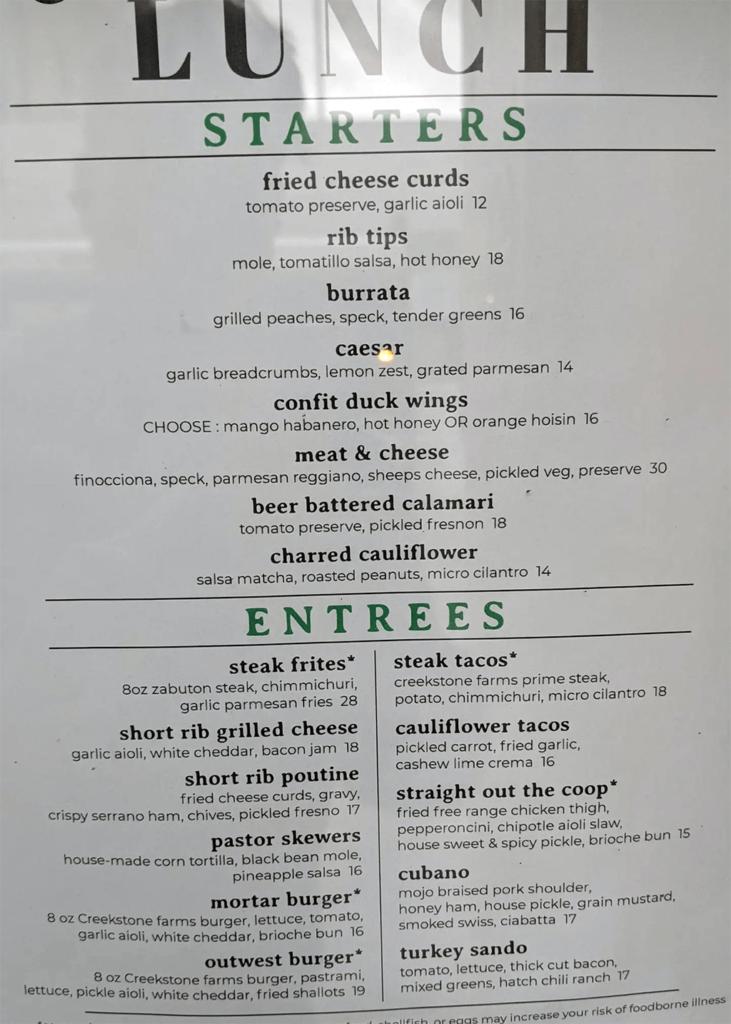 Brick & Mortar menu - lunch