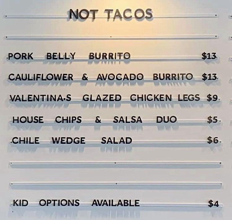 Facil Taqueria menu - not tacos