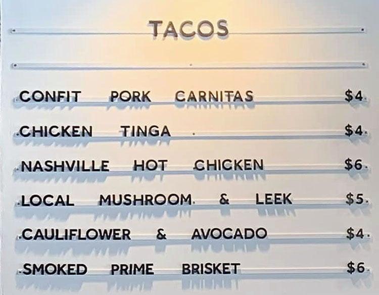 Facil Taqueria menu - tacos