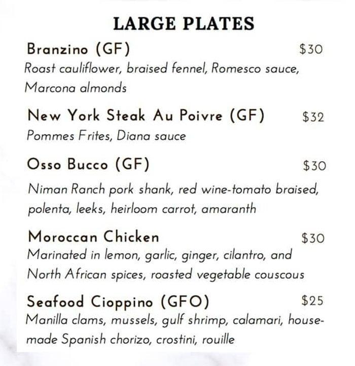 Fenice menu - large plates