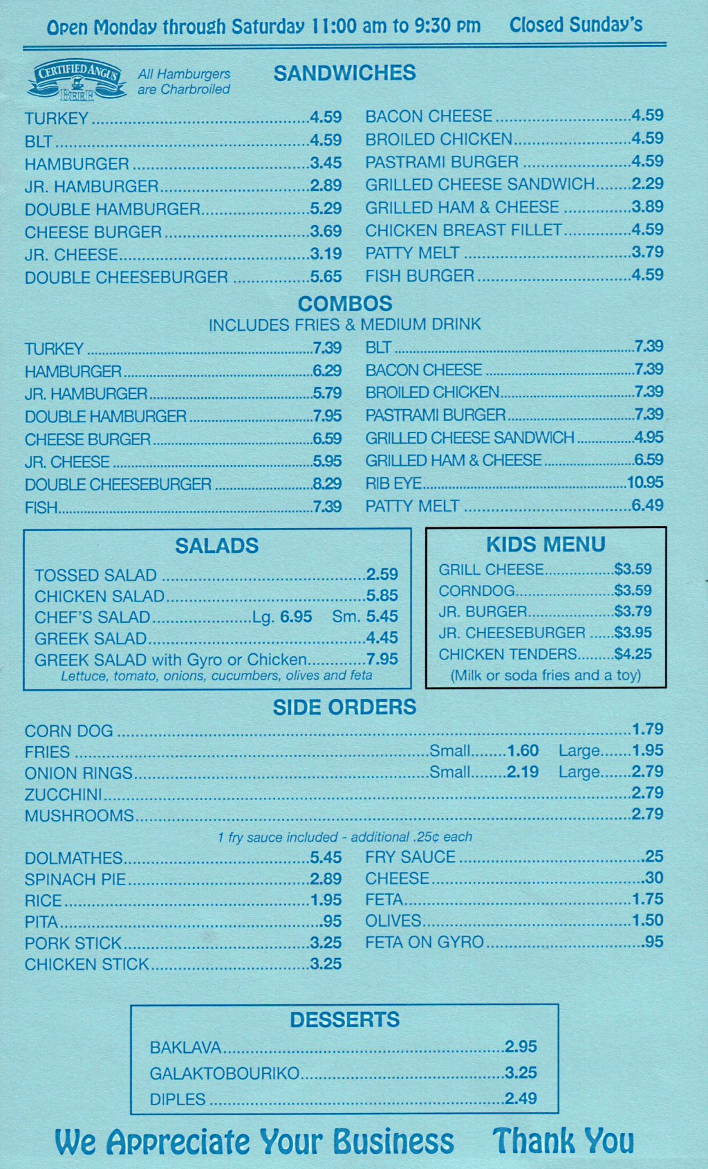 Yanni's Greek Express menu - sandwiches, combos, salads, sides