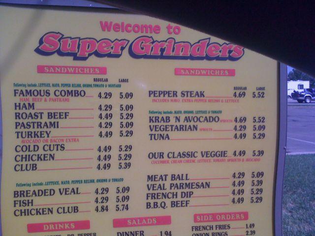 Super Grinders restaurant menu