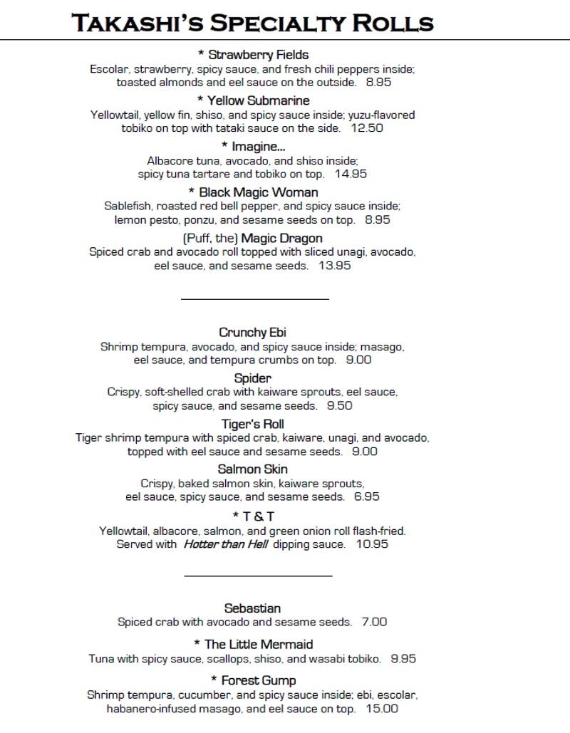 takashi menu 2016 specialty rolls