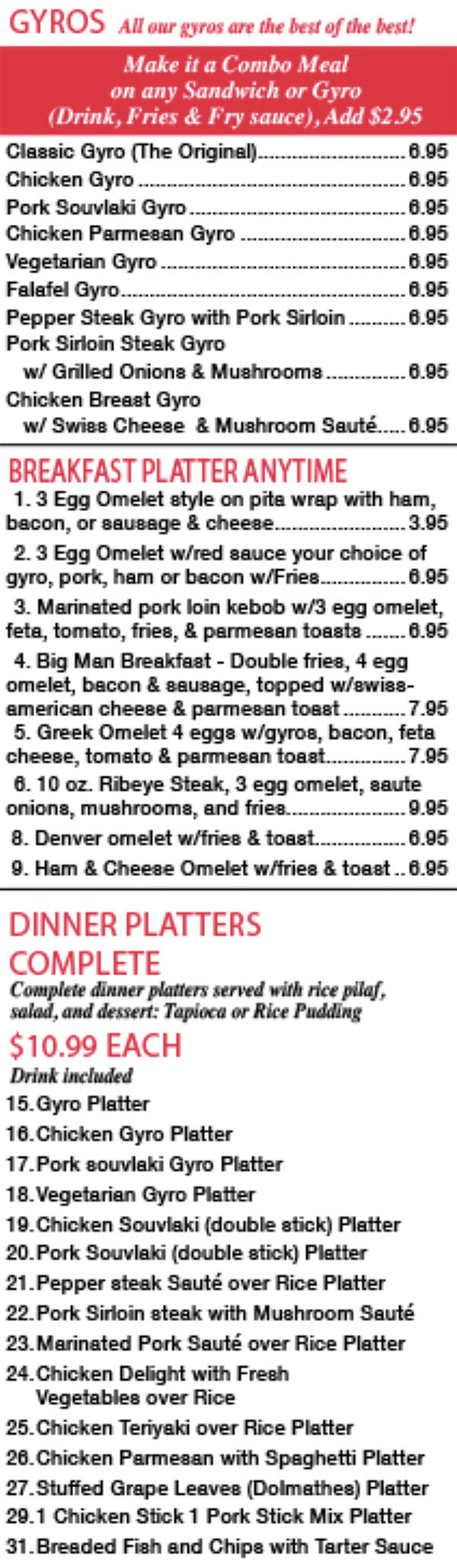 Mad Greek menu - gyro, breakfast, dinner platters