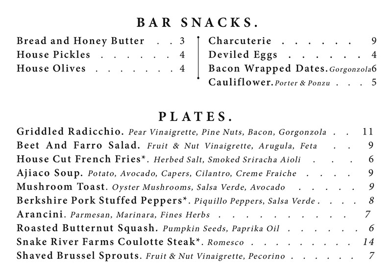 Copper Common dinner menu - bar snacks, plates