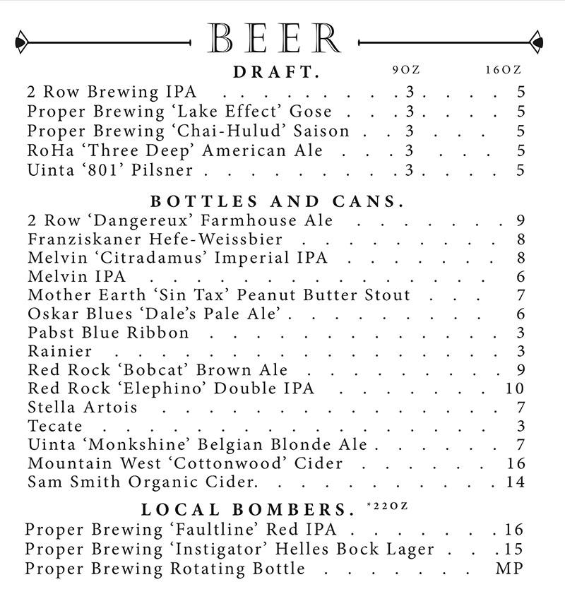 Copper Common dinner menu - beers