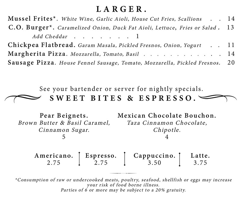 Copper Common dinner menu - larger plates, desserts, coffee